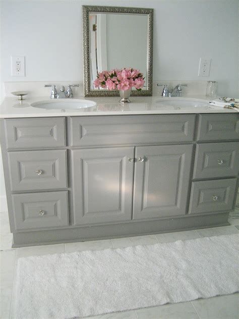 gray painted bathroom cabinets ten june diy custom painted grey builder standard