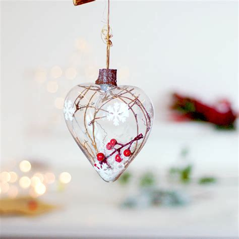 woodland glass hanging christmas tree bauble decoration by