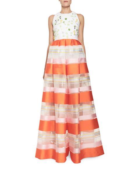 sleeveless pattern jumpsuit delpozo striped organza sleeveless jumpsuit orange pattern