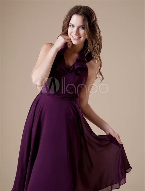 feminine purple  neckline chiffon   womens homecoming dress milanoocom
