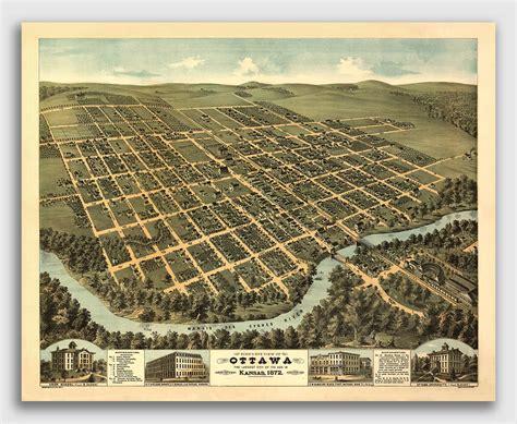 ottawa kansas vintage  panoramic city map