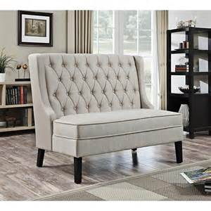 banquette oatmeal linen upholstered tufted settee