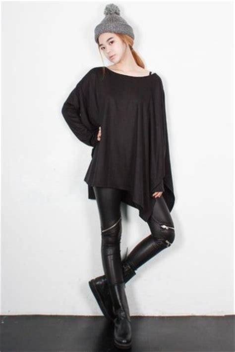 korean fashion leggings black zipper faux leather