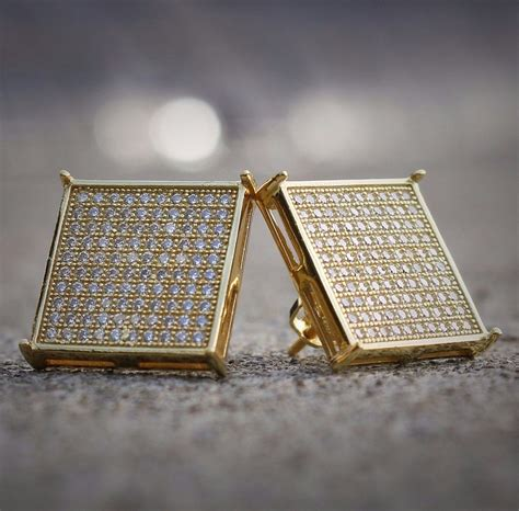 Square Earrings mens 14k gold large square flat screen hip hop screwback
