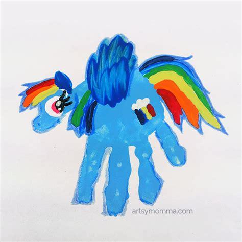my pony crafts for rainbow dash handprint craft handprint