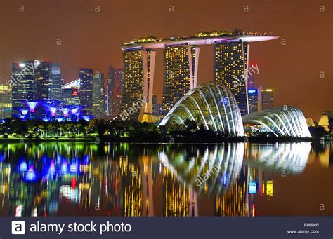 Dome Flowers of the city skyline of singapore showing the