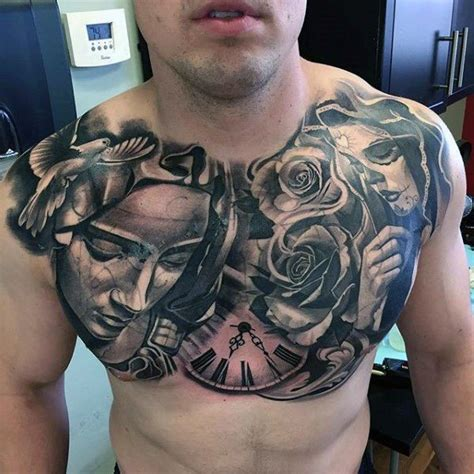 tattoo of chest day of the dead religious mens awesome chest tattoo design
