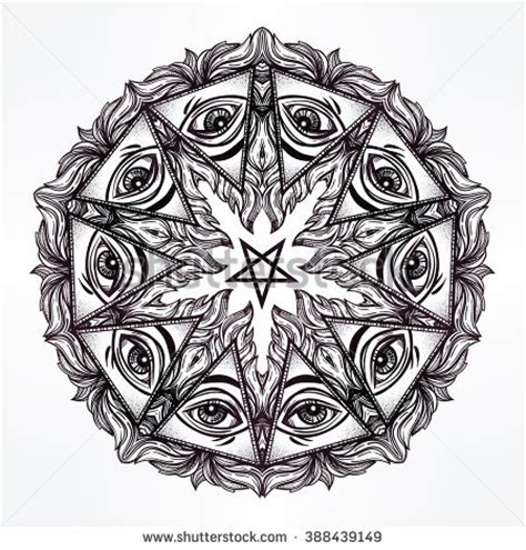 vector satanic mandala symbol tattoo design stock vector