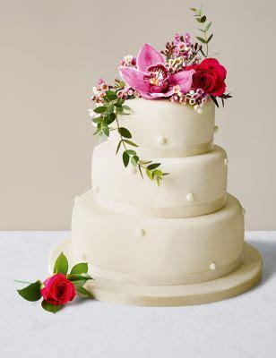 romantic pearl fruit wedding cake (ivory icing) | m&s