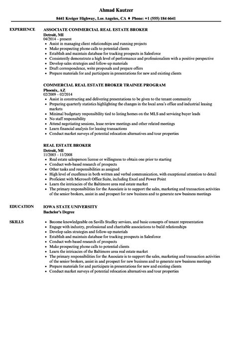 Real Estate Broker Resume by Real Estate Broker Resume Sles Velvet