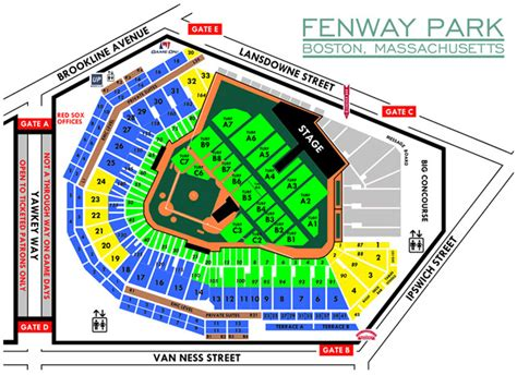 fenway seat chart dead and company fenway park tickets