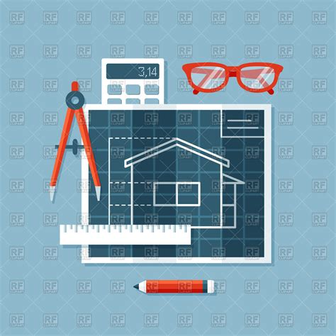 design engineer construct flat design engineering tools blueprint with plan of