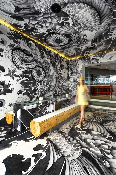 design franc art vincent coste inks japanese restaurant with yakuza tattoo