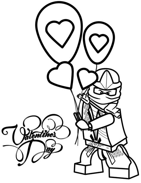 ninjago valentine coloring pages ninjago lloyd zx holding valentines day balloons coloring