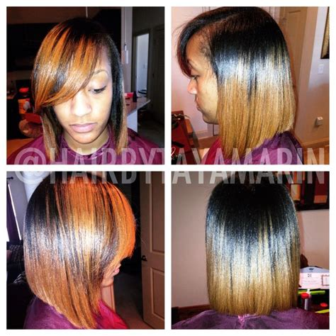 hairstyles cut into av blowout silk press and cut into a long bob on natural