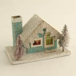 Vintage christmas mica putz house w bottle brush by efinegifts
