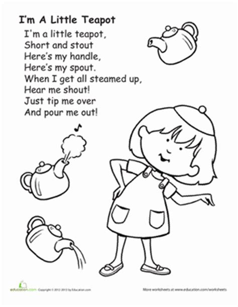 i'm a little teapot | worksheet | education.com