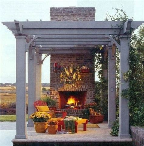Pergola With Fireplace by Pergola Fireplace Out Back