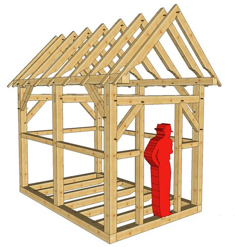 Shed Roof Frame by 8x12 Timber Frame Shed Or Playhouse Timber Frame Hq