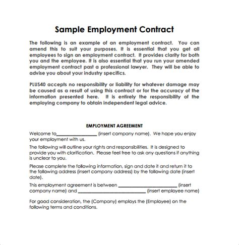 17 job contract templates free word pdf documents download