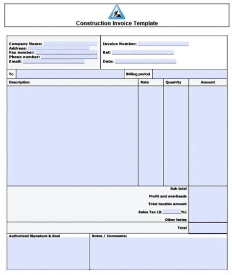 construction template free free construction invoice template excel pdf word doc