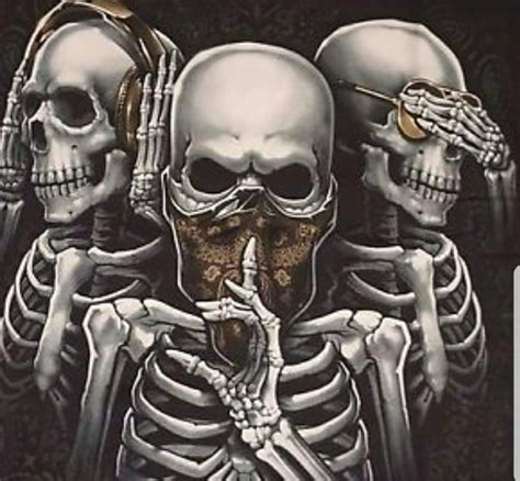 see no evil speak no evil hear no evil tattoo skulls and skeletons hear no speak no see no evil