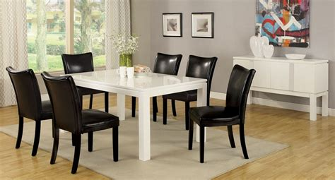 Black Gloss Dining Room Furniture 7pc Lamia White High Gloss Lacquer Dining Table Set 6 Black Chairs