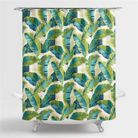 green leaves shower curtain aqua and green tropicale leaf shower curtain world market