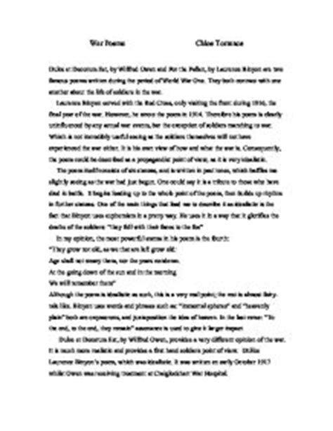 compare dulce et decorum est, by wilfred owen and for the