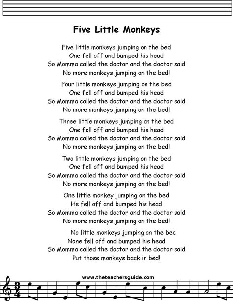 the bed song lyrics five little monkeys lyrics printout midi and video