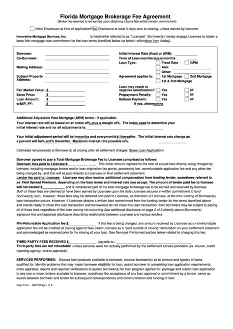 Florida Mortgage Brokerage Fee Agreement Form Printable Pdf Download Commercial Loan Broker Fee Agreement Template