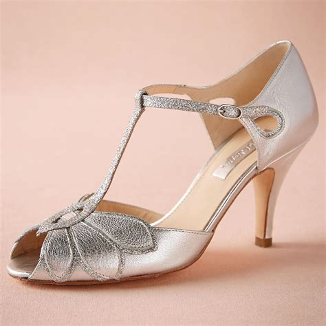 Hochzeitsschuhe Glitzer by Silver Wedding Shoes Glitter Pumps Mimosa T Straps Buckle