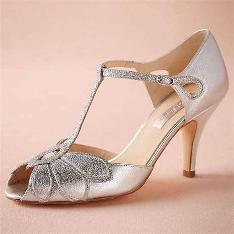 Silver Wedding Shoes Glitter Pumps Mimosa T Straps Buckle