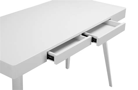 Griffin Two Drawer Modern Desk Glossy White Home And White Shiny Desk