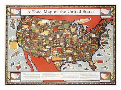 food map of the united states food map of the united states giclee print at allposters