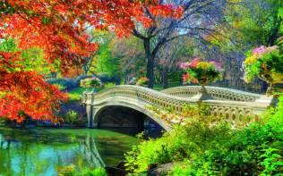 Flower Shop Philippines - central park bridge in springtime wallpapers hintergr 252 nde