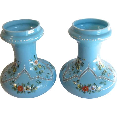 Glass Hyacinth Vases by Gorgeous Pair Of Blue Opaline Glass Hyacinth Vases From