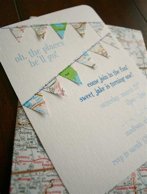 Handmade 1st Birthday Invitations - jake s birthday travel theme handmade map