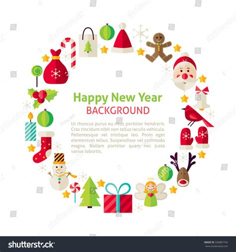 new year collection zalora flat style vector circle template happy stock vector