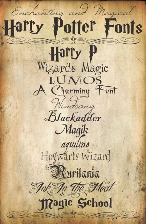 Harry Potter Fonts | enchanting and magical harry potter fonts 11 free fonts