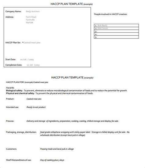 haccp template word haccp plan template 6 free word pdf documents