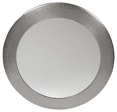 satin nickel bathroom mirror dimple framed round mirror satin nickel contemporary