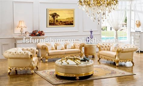 Living Room Gold Sofa Kb029 Luxury Gold Silver White Chesterfield Leather