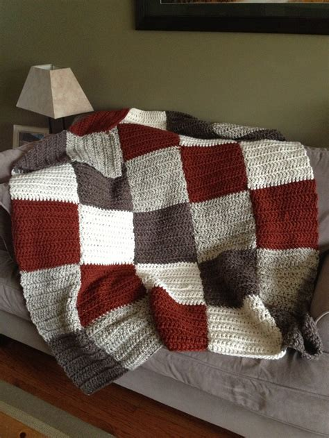 Knitted Patchwork Blanket - my crocheted patchwork blanket wool ease thick and