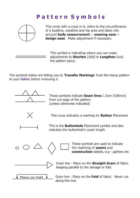 Sewing Pattern Markings And Symbols | 17 best images about patterns and pattern symbols on