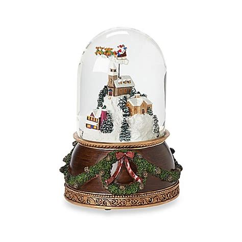 buy 7 5 inch rotating santa above town scene musical snow