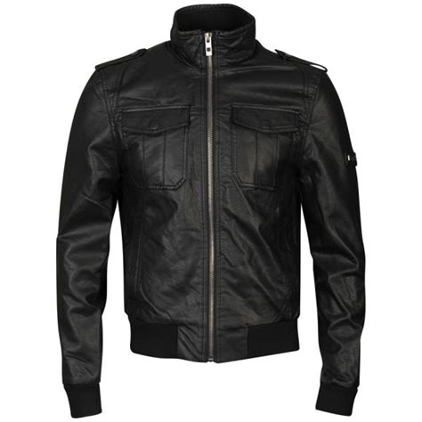 bench leather jacket bench men s washed leather look transformer jacket black clothing zavvi com