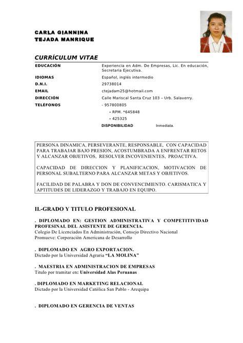 Modelo De Curriculum Vitae Experiencia Peru Curriculum Vitae