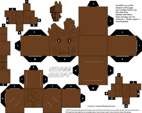 3d Foldable Papercraft Templates - printable groot cubee diy origami paper