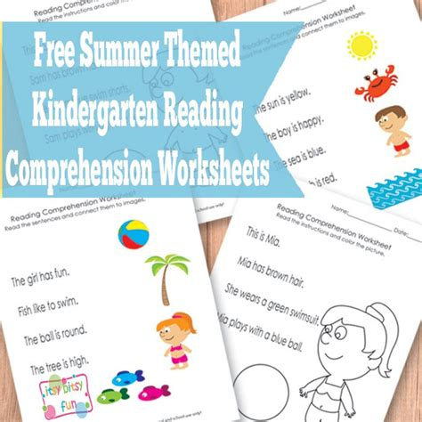 Kindergarten Reading Comprehension Worksheets by Summer Kindergarten Reading Comprehension Worksheets